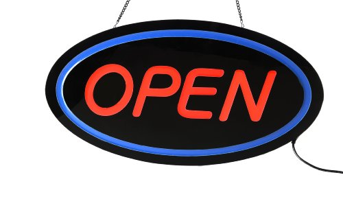 Displays2Go Open Led Sign For Window Storefront, Red Lettering With Blue Oval Border, Led Illuminated Business Sign With Hanging Chain, Simple On/Off Push Button (Ledoprbbr)