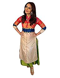 Radadiyatrd Women's Silk Semi Stitched Kurti (Huma_Kurtiss_Multi-Coloured)