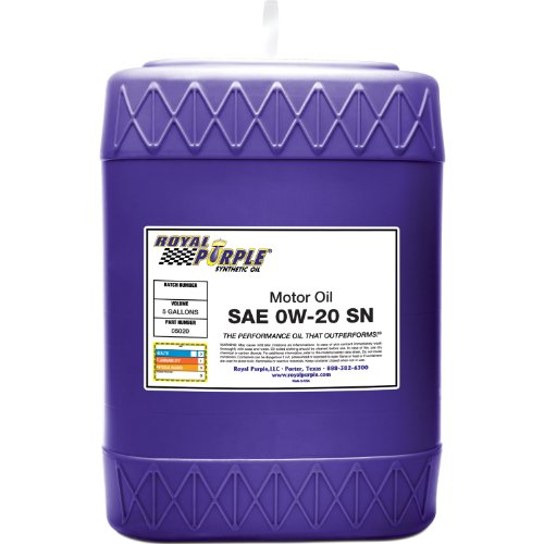 Royal purple 05020 api licensed sae 0w 20 high performance for Sae 0w 20 synthetic motor oil