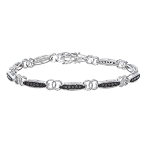 1 CT Black Diamond Bracelet in Sterling Silver