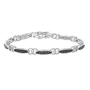 1 CT Black Diamond Bracelet in Sterling Silver