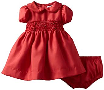 Hartstrings Baby-Girls Newborn Shantung Smocked Dress And Diaper Cover Set, Red, 0-3 Months