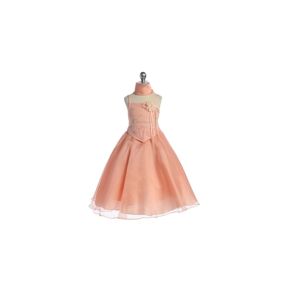 b0539f9f32 Girls Peach Floral Flower Girl Pageant Easter Dress 18 Chic Baby Clothing