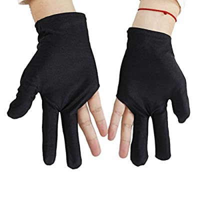 5pcs Black Nylon Snooker Billiard Cue Glove Pool Hand Three Finger Table Game