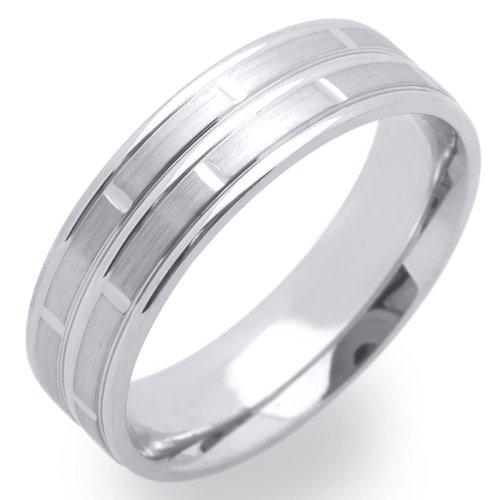 14K White Gold Wedding Bands For Men 6MM Lined Ring , Size 10.5
