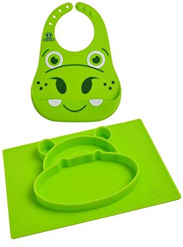 Tovaglia per bimbi & piatto suddiviso + bavetta impermeabile | Ciotole per bebè/bambini anti-pasticci | Piatti in silicone per lo svezzamento guidato del bambino | verde