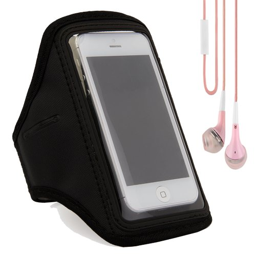 Workout Sports Gym Armband Case Cover For Apple Iphone 5S / 5 / 5C / 4S / Ipod Touch 5 (Black) + Pink Vangoddy Headphones With Mic