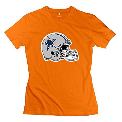 Women Dallas Cowboys Helmet T Shirts - Funny Custom Orange T Shirts