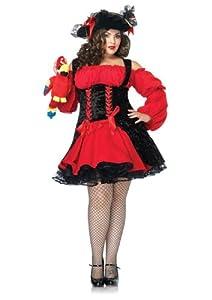 Leg Avenue Women's Vixen Pirate Wench With Double Lace Up Corset Dress, Red/Black, 3X-4X