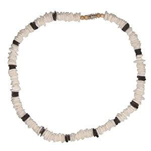 puka shell necklace white and black chips
