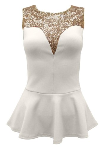 ENVY BOUTIQUE SEQUIN PEPLUM TOP WHITE SIZE 10