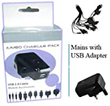 UNIVERSAL MOBILE PHONE Charger   suitable for almost all brands of phones can use it as a iPod charger, iPhone charger, MP3 charger, PDA charger (most brands) and Sony PSP Charger   Phone makes include: Nokia, Sony Ericsson, Samsung, LG, Motorola, O2 phones, T Mobile phones, Vodafone, Orange phones, three phones, HTC, iMate, JCB, Land Rover, Sonim, 3: INQ, Skypephone, ZTE, Acer, Amazon: Kindle, Google phone, HP, Huawei, MDA, Palm, QTec, Sagem, Toshiba, Virgin & Blackberry (+ many others), see the list of templates by clicking on the point   the global use of 100 volts to 240 volts   a single cable, so can not lose it, and ready to charge to upgrade a phone or phone to friends who are visiting!   Jumbo CSL Charger handhelds pdas