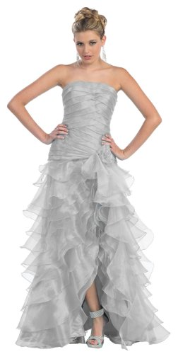 US Fairytailes Ball Gown Formal Prom Strapless Layered Ruffle Dress #2770