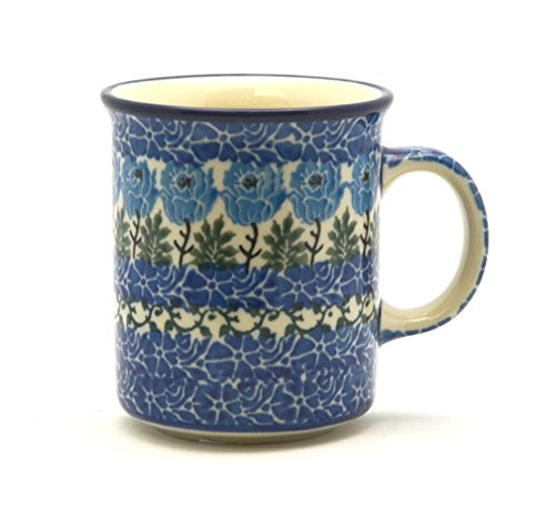 Polish Pottery 8 Oz. Straight Sided Mug - Antique Rose Pattern