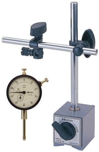 Mitutoyo 7046 Dial Indicator and Magnetic Stand Set, #4-48 UNF Thread, 0.375