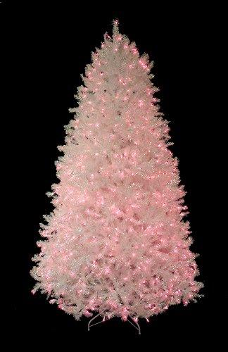 7.5' Pre-Lit Shimmering White Iridescent Christmas Tree - Pink Lights