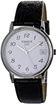 Tissot Carrera Silver White Dial Black Leather Mens Watch T85162112