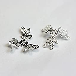 12pcs 925 Sterling silver Jewelry Findings Bead cap,10mm leaf filigree cap,1mm hole