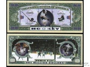 Ice Hockey Million Dollar Bill in Protective Holder