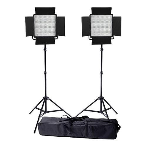 Led Go Value Series Daylight Ac/Dc Sony Led Panel 600 2-Light Kit, Includes Bi-Color Led Panel 600, 8.0' Air Cushioned Stand, Interfit Stand Bag