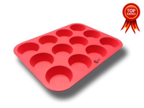 Grazia G-3003 24-Cup Silicone Muffin Pan, Mini, Red