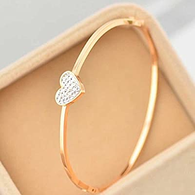 findout ladies 14K rose gold plated titanium steel love full of diamond bracelets ,for women girls,(f1389)