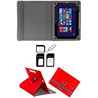 "Hello Zone Exclusive 360° Rotating 7"" Inch Flip Case Cover Book Cover For Micromax Canvas Tab P470 -Red + Free..."