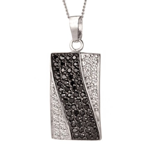 Ladies' Cubic Zirconia Rectangular Pendant Necklace, Silver Curb Chain, 46cm Length, Model B05 TP2386