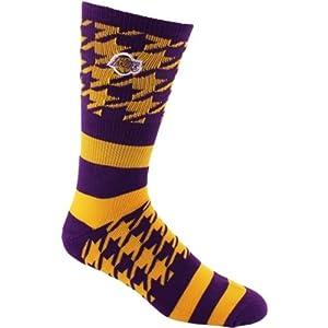 NBA Houndstripe Los Angeles Lakers Crew Socks by FBF