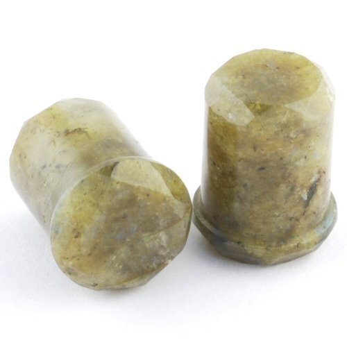 Pair of Labradorite Single Flared Double Faceted Plugs: 1/2