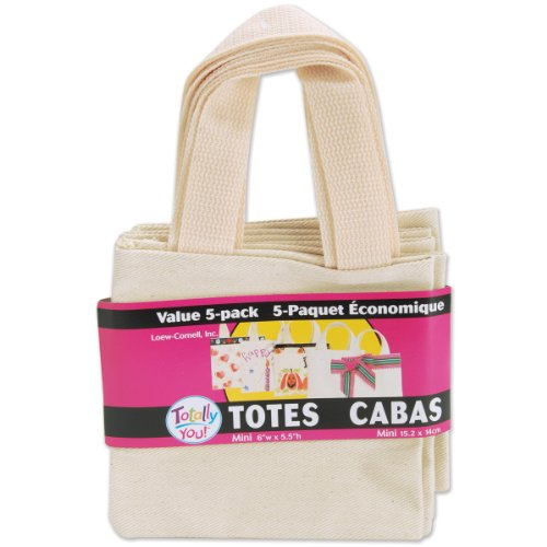 Loew Cornell TBMN5-3636 Totally You Mini Tote Bags Value Pack, Natural