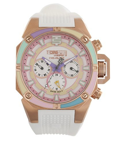 technosport-women-ts-100-s38g-white-silicone-band-watch-pastel-bezel-with-gold-dial