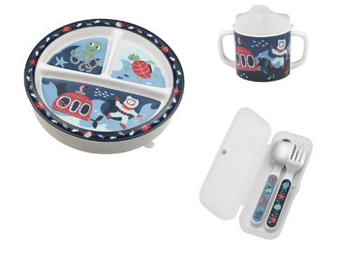 Sugarbooger Divided Plate, Sippy Cup, and Silverware Set-Under the Sea