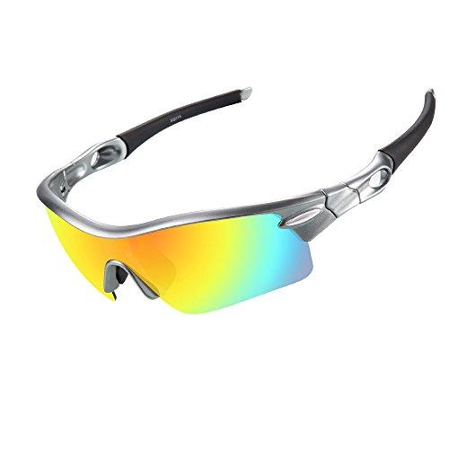 Ewin E02Sport Uomini Donne Occhiali da sole polarizzati occhiali con 3lenti intercambiabili per Golf Pesca Ciclismo Guida Corsa, Silver&Grey