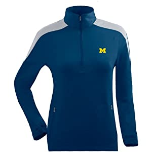 Antigua Ladies Michigan Wolverines Succeed Front Fleece Half-Zip Pullover by Antigua