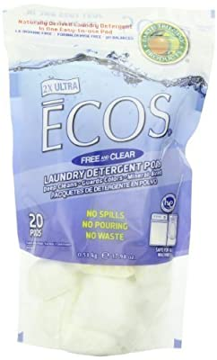 Earth Friendly Products Free And Clear Laundry Detergent Pods Ecos 17.98 Ounce