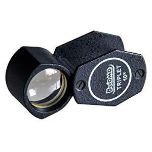 Loupe Magnifier - 10x Triplet Folding Loupe Magnifier - High Quality Imported BelOMO Lens (10x21mm with 17mm viewing area)
