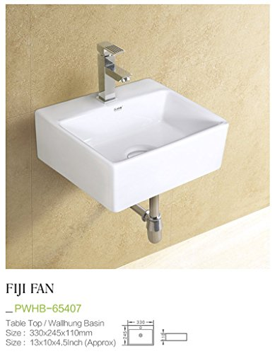 Plano Ceramic Wash Basin Tabletop / Wall Mount Fiji Fan