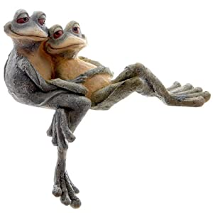 Garden ornament cuddling pair of frogs figure ideal pond for Fish pond ornaments