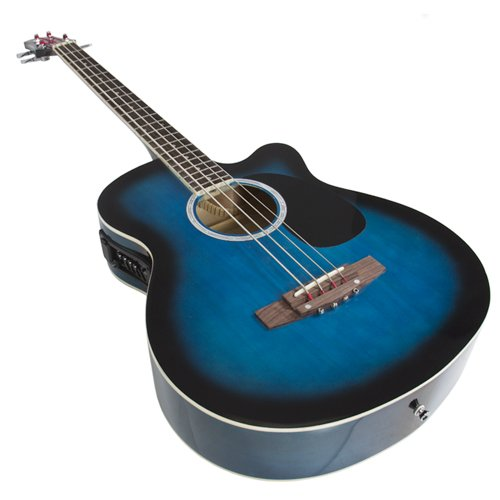 electric acoustic bass guitar blue solid wood construction with equalizer krood music. Black Bedroom Furniture Sets. Home Design Ideas