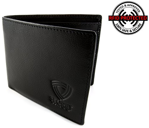 Black RFID Blocking Leather Wallet for Men - Excellent Travel Bifold - Hand Made To Be The Best Credit Card Protector - Blocks All RF Activity - Safest Wallets for Man (Stainless Steel Wallett compare prices)