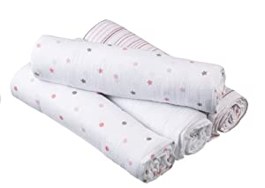 Aden By aden + anais Muslin Swaddle Blanket 4 Pack, Oh Girl!
