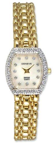 Geneve 14kt Gold Diamond Womens Luxury Jewelry Watch 14k