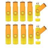 10pcs Rotatable 8GB OTG USB Flash Drive for Cell Phones & Tablet PCs (Yellow)