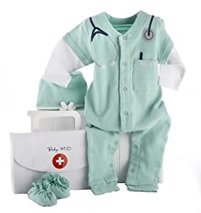 Baby Aspen Big Dreamzzz Baby M.D. Layette Set with Gift Box, Green, 0-6 Months from Baby Aspen