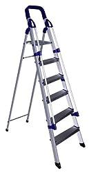 Cipla Plast Folding Aluminium Ladder with Railings - Home Pro 6 Steps + Free 14 Pcs Multipurpose Buffers - GEC-L6A-R