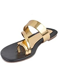 Womens Synthetic Leather Flats | Gold & Black SDL-13