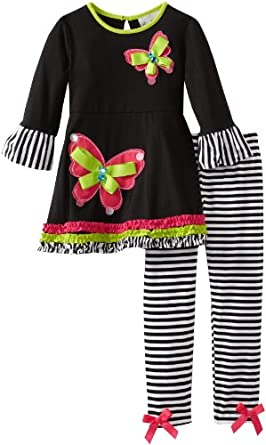Rare Editions Little Girls' Stripe Legging Set Toddler, Black/White, 2T