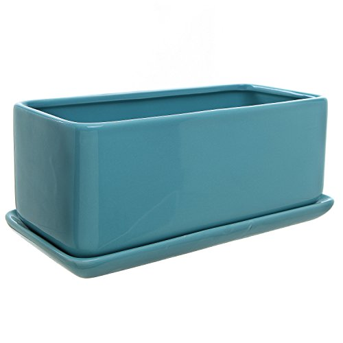 10 Rectangular Turquoise Ceramic Succulent Planter Pot