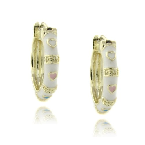 Lily Nily 18k Gold Overlay White Enamel Heart Design Children's Hoop Earrings